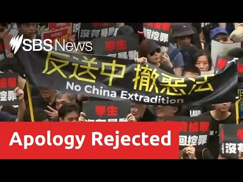 Hong Kong protesters not satisfied with an apology over the handling of the extradition issue