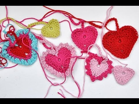 How to Crochet * Tiny Hearts in 3 different sizes and variations