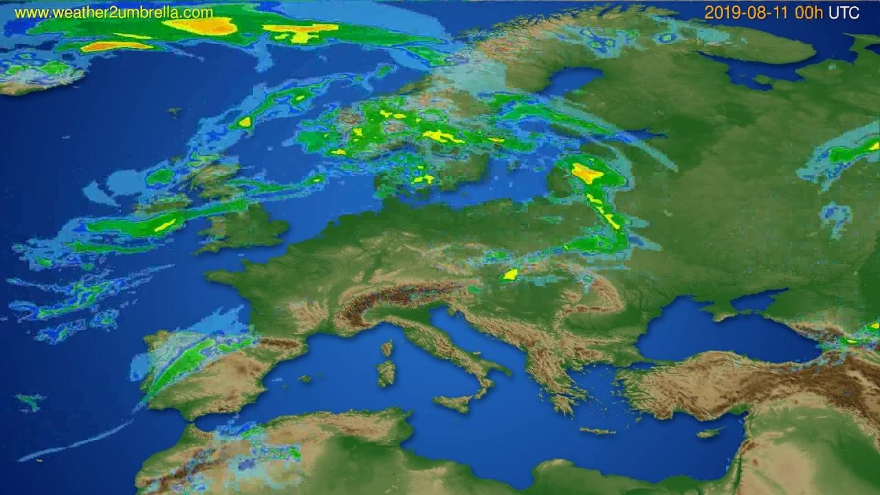 Radar forecast Europe // modelrun: 12h UTC 2019-08-10