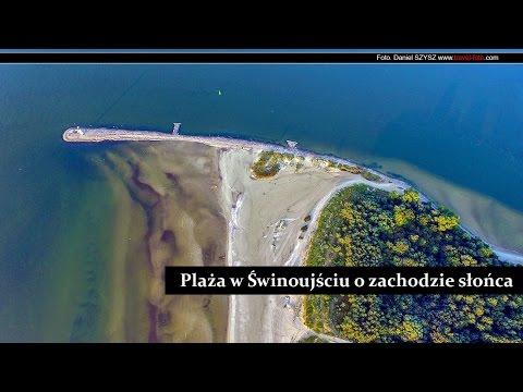 Świnoujście - port - plaża - zachód słońca - dron