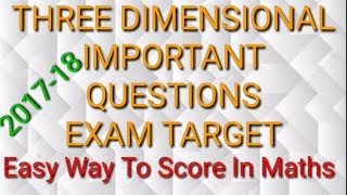 Three dimension geometry class xii most important questions for board exam by maths techy 2017-18