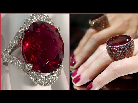 Beautiful Scalloped Double Diamond Ruby Rings Ideas For Engagement
