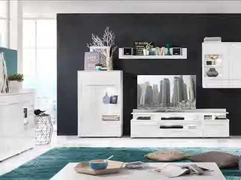 Wohnwand Vision Hochglanz weiß inkl. LED Beleuchtung