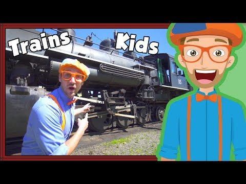 Trains for Children with Blippi | Steam Train Tour