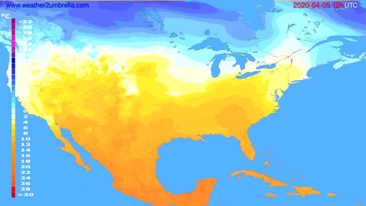 Temperature forecast USA & Canada // modelrun: 00h UTC 2020-04-05