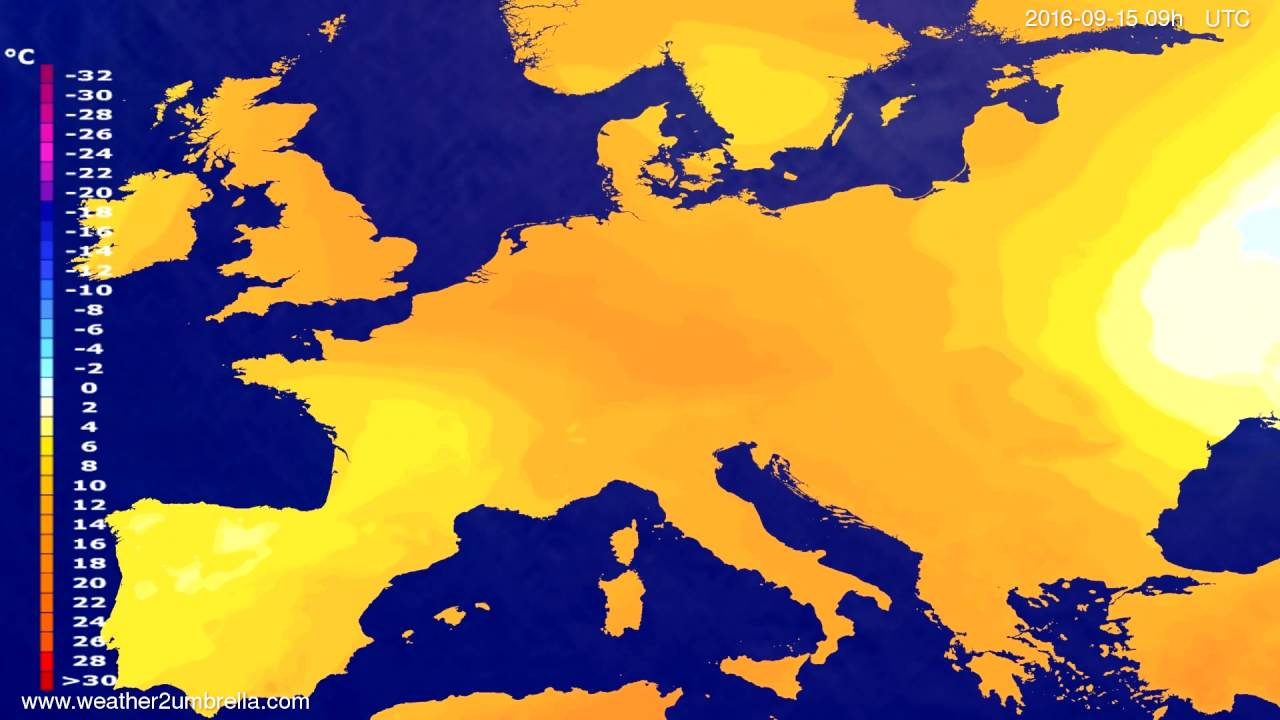 Temperature forecast Europe 2016-09-11