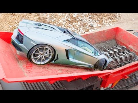 Extreme Dangerous Fast Car Crusher Crushing Machine, Destroy Everything & Car Shredding for Recycle