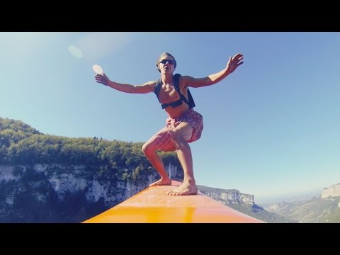 Watch the Flying Frenchies Surf and BASE Jump From a Zipline Between Two