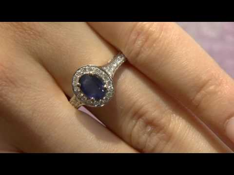 CR1001 Sapphire and diamond halo ring