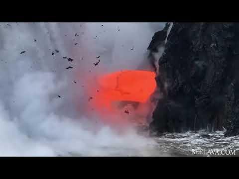 Напор лавы, стекающей в океан