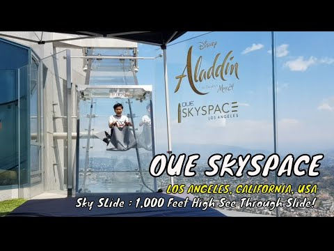 OUE Skyspace And Sky Slide  - See Through Slide 1,000 Feet High - Los Angeles CA USA | Travel Vlog