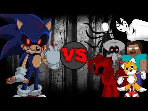 Sonic.EXE vs Creepypastas (Slenderman, Jeff The Killer, Tails Doll, Herobrine, and More!!!)