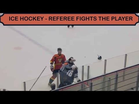 Ice Hockey – Referee fights player (HD)