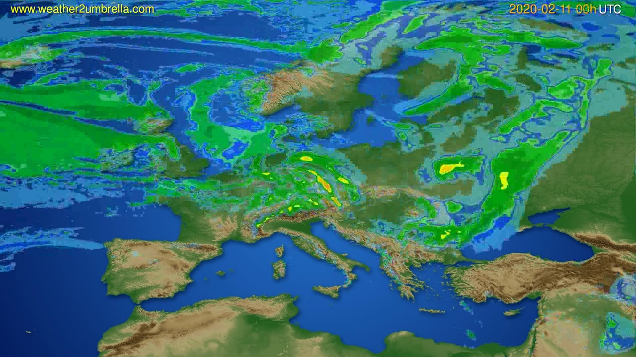 Radar forecast Europe // modelrun: 12h UTC 2020-02-10