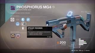 Destiny 2 Phosphorus MG4 Legendary Submachine Gun Gameplay