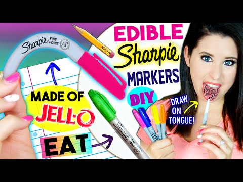DIY EDIBLE Sharpie Markers | EAT Sharpies Whole | Draw On Tongue |  EATABLE School Supplies! (видео)