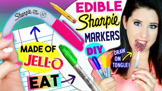 DIY EDIBLE Sharpie Markers | EAT Sharpies Whole | Draw On Tongue |  EATABLE School Supplies! by GlitterForever17