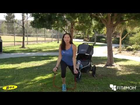 BOB & FIT4MOM Stroller Exercise - Bicep Curl w/ Back Leg Lunge