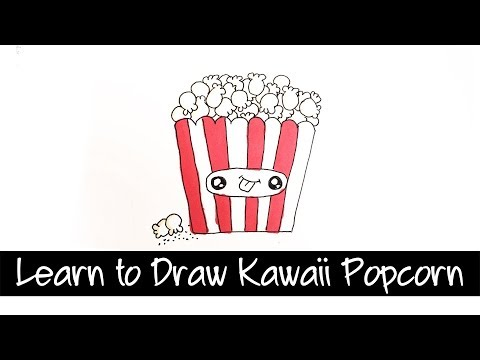 Learn to draw yummy Kawaii popcorn - super cute and easy step by step drawing