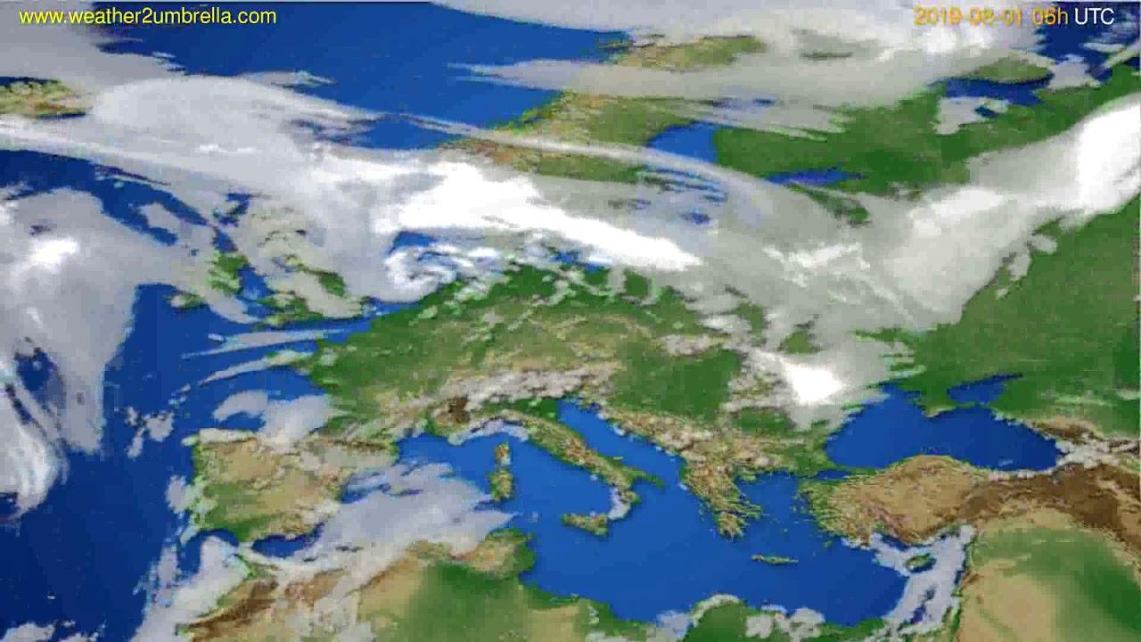 Cloud forecast Europe // modelrun: 12h UTC 2019-07-29