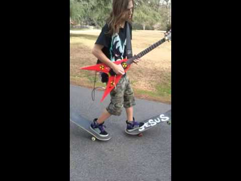 [Watch] Shredding The Guitar And 2 Skateboards!