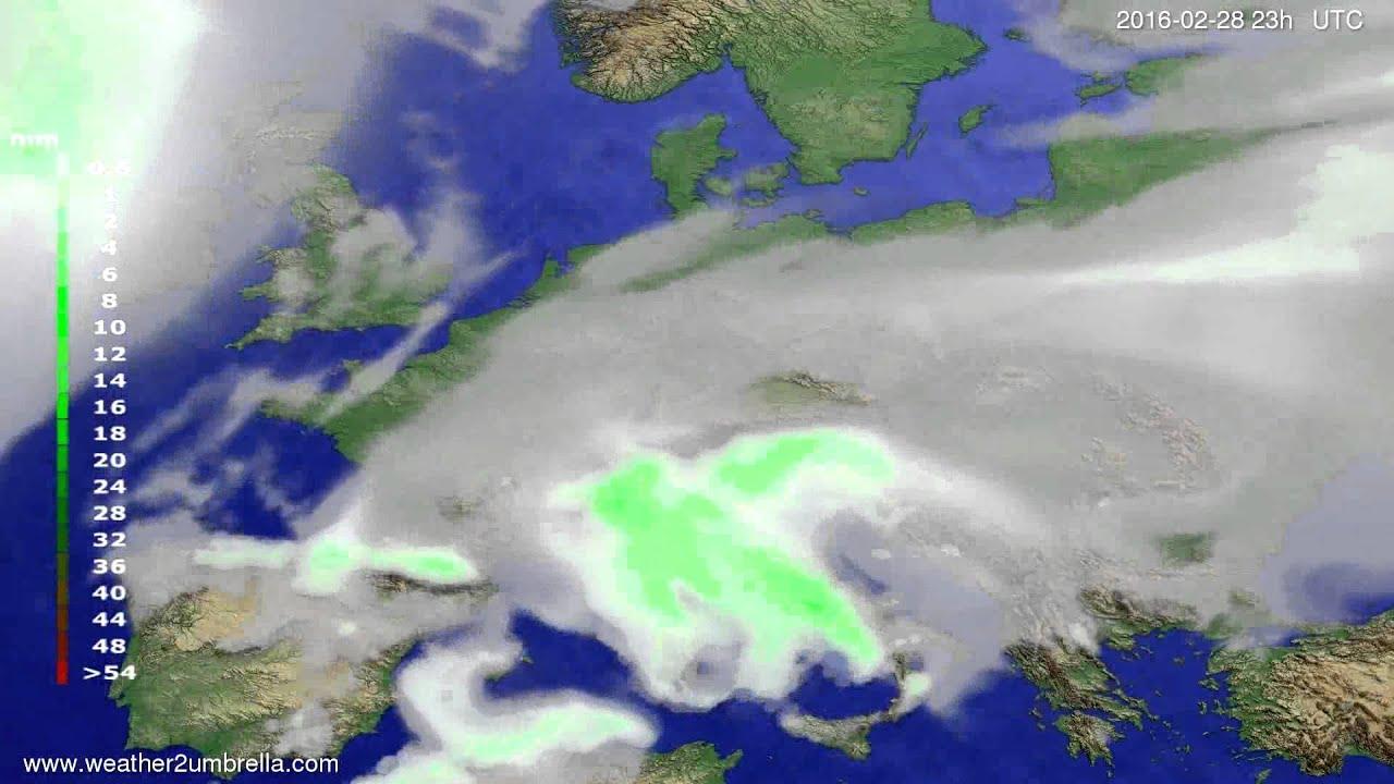 Precipitation forecast Europe 2016-02-25