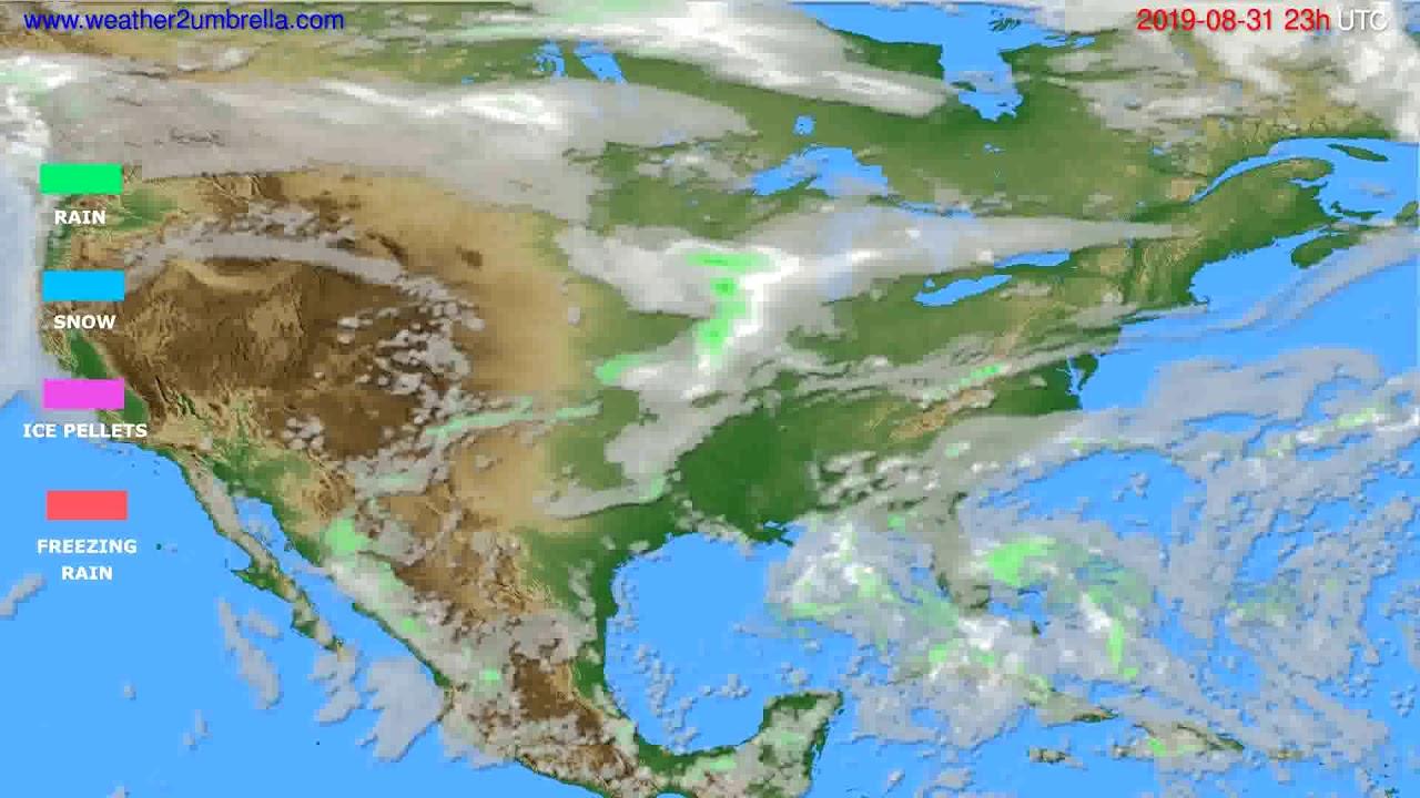 Precipitation forecast USA & Canada // modelrun: 12h UTC 2019-08-28