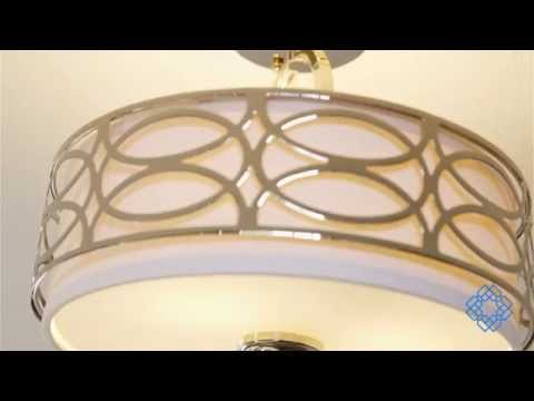 Video for Harlow Polished  Nickel Three-Light Semi Flush Fixture w/Slate Gray Fabric Shade