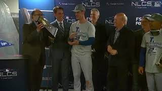 Cody Bellinger Awarded NLCS MVP Trophy | Dodgers vs Brewers NLCS Game 7