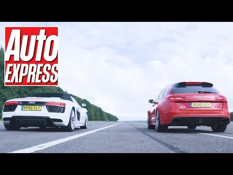 audi r8 spyder vs audi rs6 avant - drag race