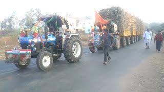 Hindustan 60 hp pulling 6 loaded trailers