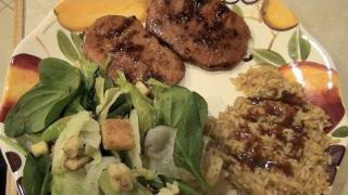 Yum! This is a quick way to make delicious baked pork chops, marinated in a scrumptious sauce, that I also drizzle over whole grain rice. It's easy and yummy ...
