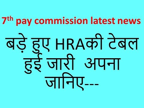 7th PAY COMMISSION latest news:HRA TABLE