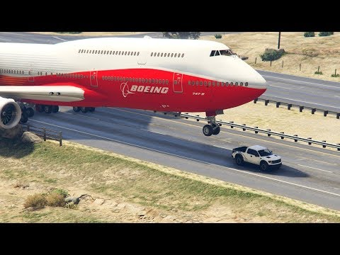 "Gta5 - Giant Air Plane ""emergency Landing"" On Highway -- Two Engines Failed  -- (this Is Gta5 Game)"
