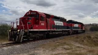 Que hay raza aquí les dejo el Turno Irapuato-Lagos pasando por el kilómetro # 438 de la Línea A, en Purísima del Rincón, Guanajuato. México. En esta ocasión eran un par de SD40-2 máquinas solas rumbo al norte, estas máquinas iban a hacer intercambio de locomotoras con las Ayudas de Lagos de Moreno, la líder era la 3205 y en múltiple la 3229 pasando por el crucero del # 438 en Purísima NOAS_5FerroNoasNOAStudioPhotos