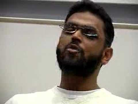 Begg - Moazzam Begg speaks to an audience of around 100 people at Goldsmiths' University London. The meeting was organised by Lewisham Stop The War Coalition.