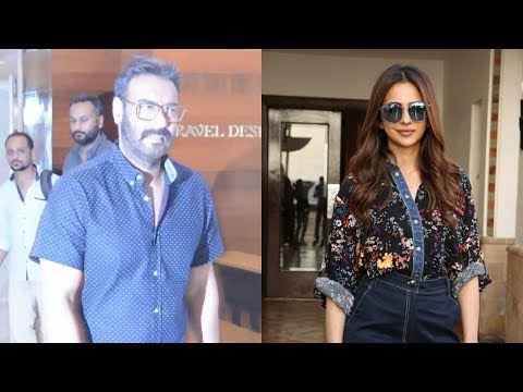 Ajay Devgan & Rakul Preet Snapped For Movie Promotion De De Pyaar De At Juhu