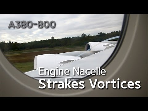 A380 Engine Nacelle Strakes Vortices (видео)