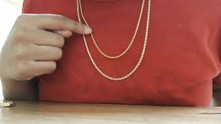 10k gold 14k Gold 2mm 4mm etc. Rope Chain (Different Styles)