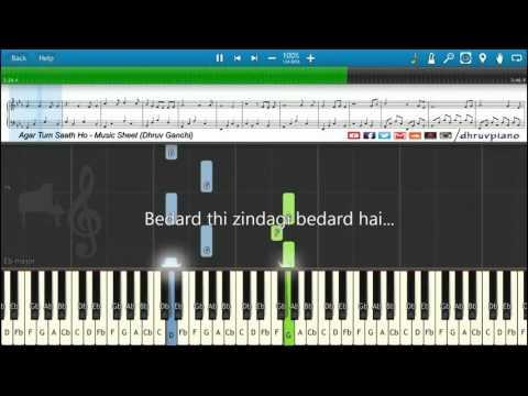 ♫ Agar Tum Saath Ho (Tamasha) || Piano Tutorial + Music Sheet + MIDI With Lyrics