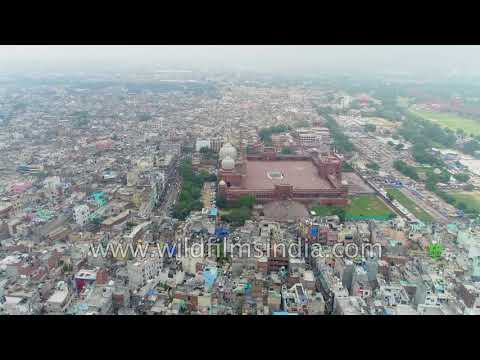 Jama Masjid in Old Delhi - largest mosque in Asia - aerial view