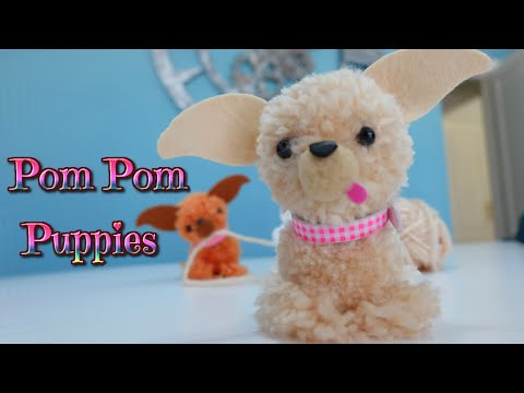 easy crafts for kids, puppy dog with wool pompoms - Chihuahua - Isa ❤️