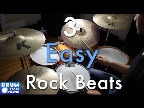 3 Easy Beginner Rock Beats - Beginner Drum Lesson | Drum Beats Online