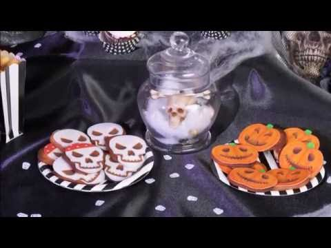Rezept-Idee : Kürbis und Skelett Halloween Gebäck