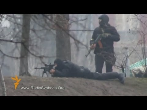 Sniper and riot police filmed opening fire at protesters in Ukraine!
