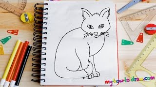 How to draw a Cat - Easy step-by-step drawing lessons for kids