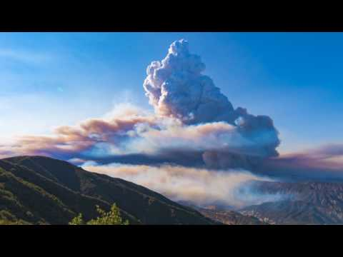 """I took a timelapse of one of the many wildfires in California. It was large enough to form it's own weather system known as """"Pyrocumulus Clouds"""""""