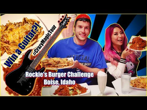 Win A Guitar Food Challenge in Boise, Idaho - Rockies Diner Man vs Food | #CrazyMagicTour