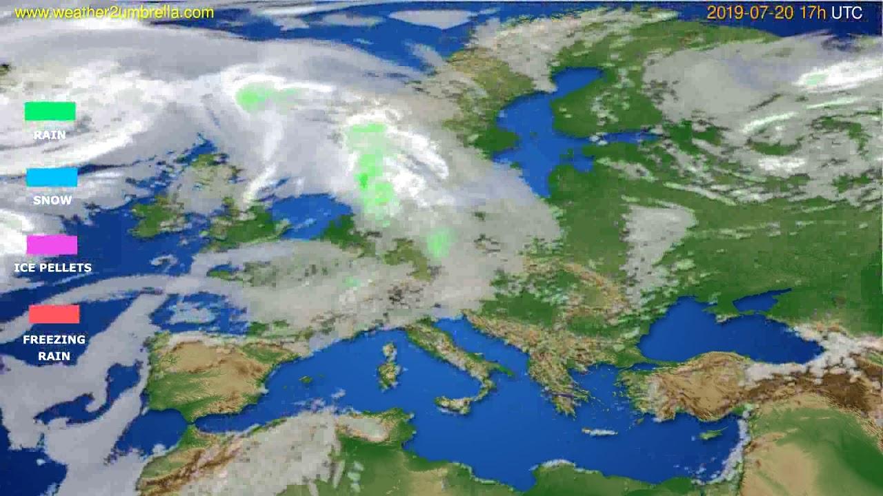 Precipitation forecast Europe // modelrun: 00h UTC 2019-07-19