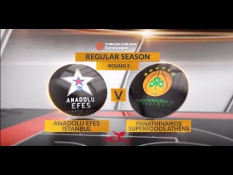 EuroLeague Highlights RS Round 5: Anadolu Efes Istanbul 91-83 Panathinaikos Superfoods Athens